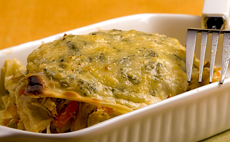 Lasanha de frango e legumes