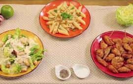 Salada caesar com frango douradinho