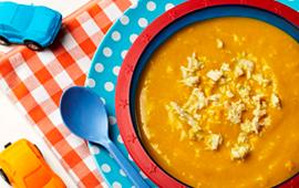 Sopa de abóbora com frango